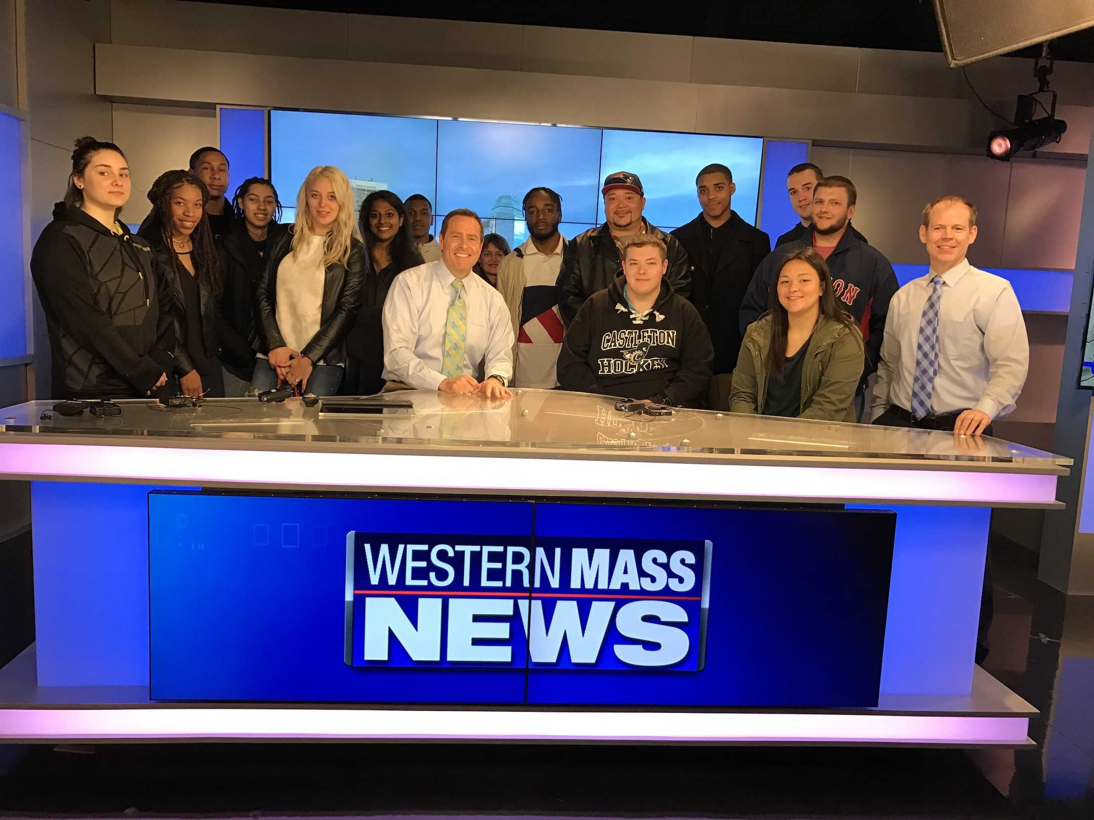 AIC's Intro to Broadcasting class with Western Mass anchor Chris Pisano (center) and meteorologist Dan Brown.