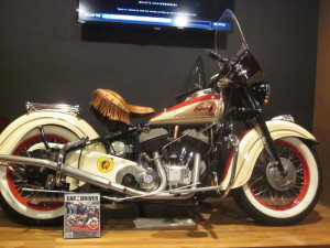 Q displays vintage Indian Motocylces in a nod to the former factory across the street at Mason Square.