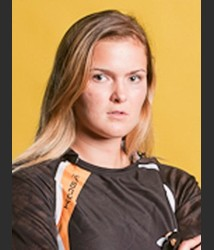 AIC sophomore Carrie Vaillancourt in her official rugby photo.