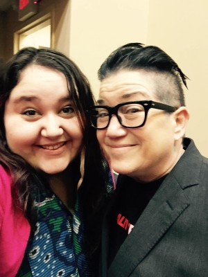 AIC sophomore Rebecca Gray and Lea DeLaria after the show.