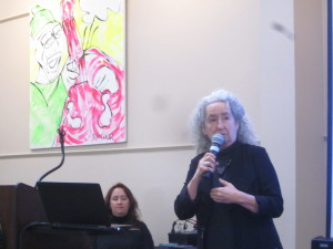 Nora Guthrie talked about the life and work of her father, the late Woody Guthrie, in a visit to AIC sponsored by the Cultural Affairs Council.