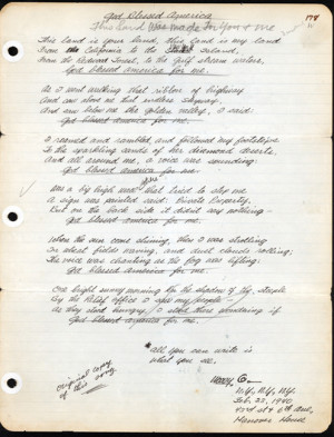 A copy of the original song 'This Land is Your Land' written by Woody Guthrie on Feb. 23, 1940.