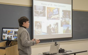 Senior Honors student and New Media major Cole Ludorf presents his research into virtual reality.
