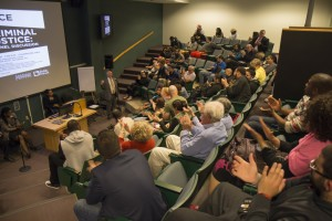Students, faculty, staff and the community at large turned out for the panel discussion on race and criminal justice.