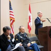 Congressman Richard E. Neal speaks to an AIC audience on Veterans Day.