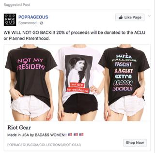 A screenshot of a Facebook ad for POPRAGEOUS