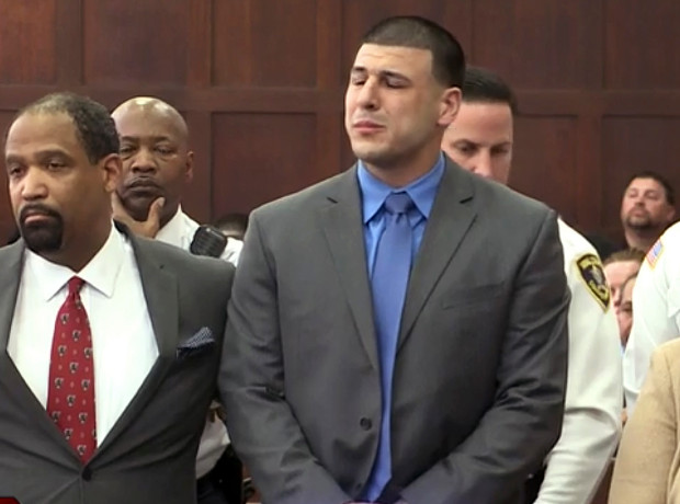 Aaron Hernandez cries after being found not guilty of a Boston double murder, just last week.