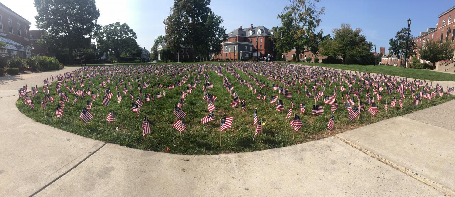 Student volunteers placed 2,996 flags on the Quad in memory of the lives lost on September 11, 2001.