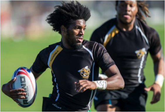 AIC Rugby standout Jihad Khabir on the field.
