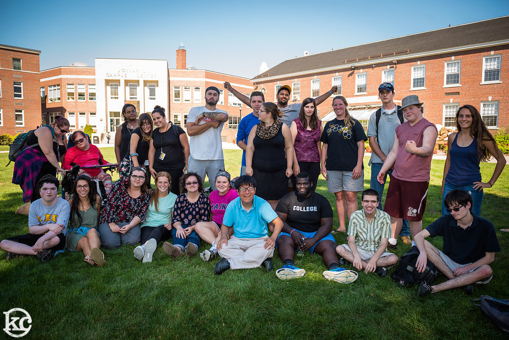 College Steps students and their mentors hanging out at AIC. (Photo courtesy of Chris Ryan)