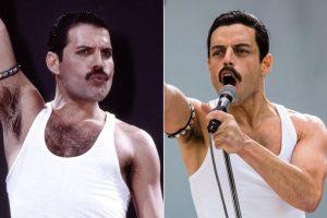 Left: Mercury performing at live aid--- Right: Malek portraying Mercury