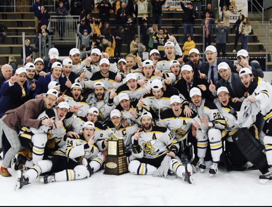 Atlantic hockey championship game photo celebration