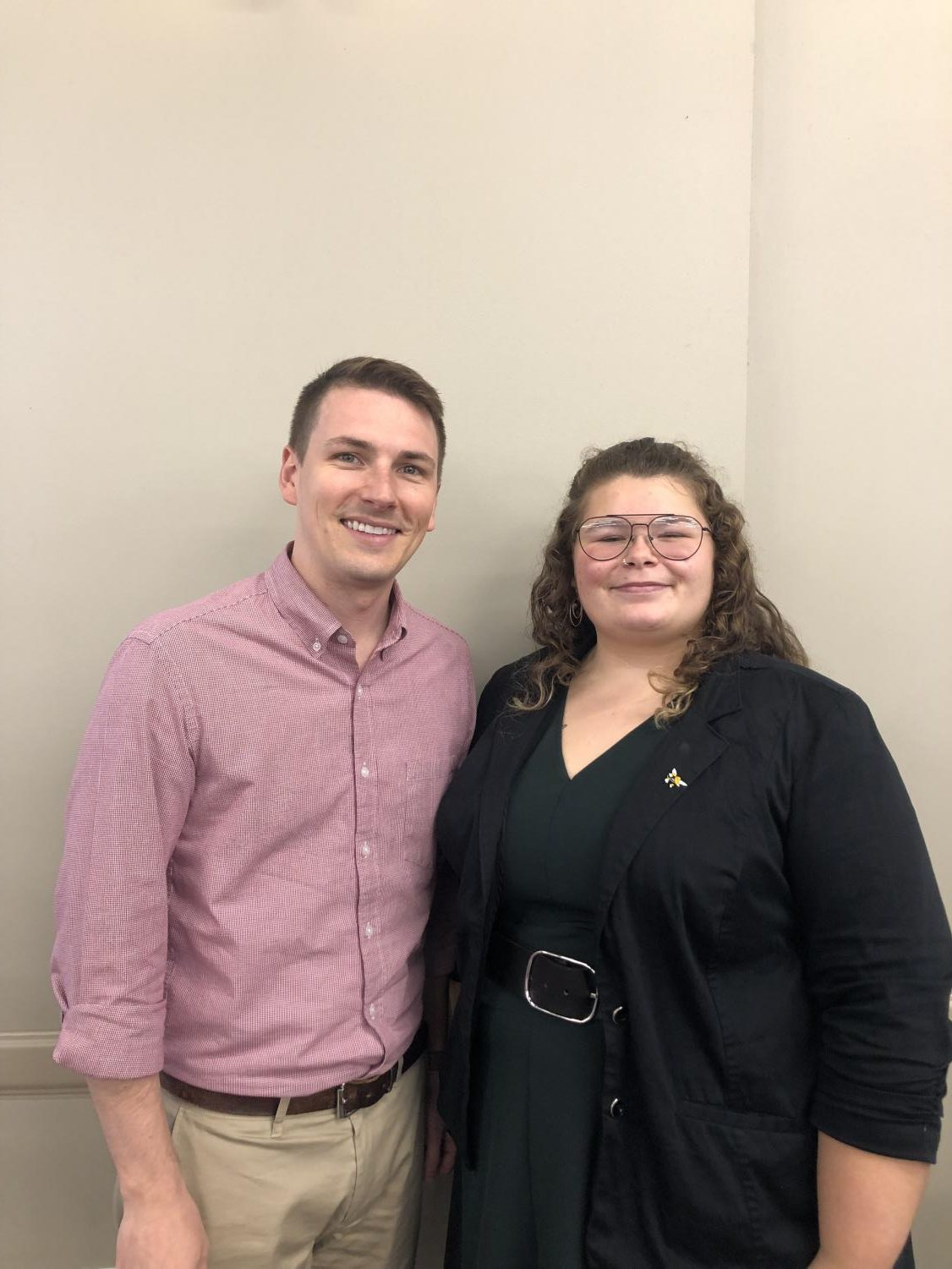 Pictured here is Dean of Students, Matthew Scott and Mariah Mauke, Legislative Chairperson of the 80th Model Congress.
