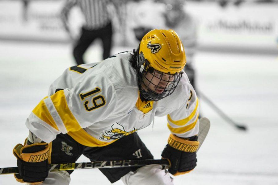 Sophomore Forward Elijiah Barriga on the ice during AIC's last regular season game