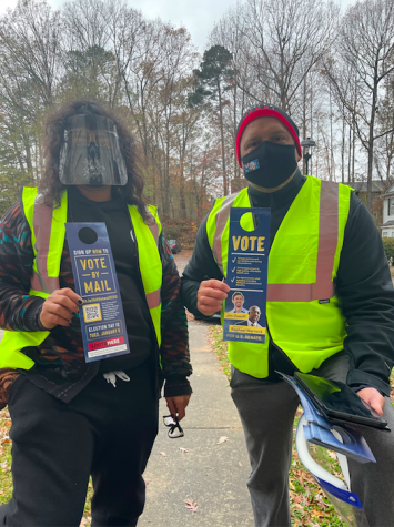 Voter Volunteers: Jorge Iniestra and his son from Workers Power PAC canvassing Georgia residents.