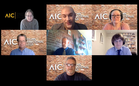 Screenshot from Meet the faculty Zoom Meeting. (Top row left to right: Lori Paige, Frank Borelli, Kat Lombard-Cook) (Middle row left to right: John Nordell, Bruce Johnson, William Steffen) (Bottom Row: Marty Langford) (Avé Mullen)